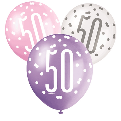 Pink, Purple & White Glitz 50th Birthday Latex Balloons 6pk