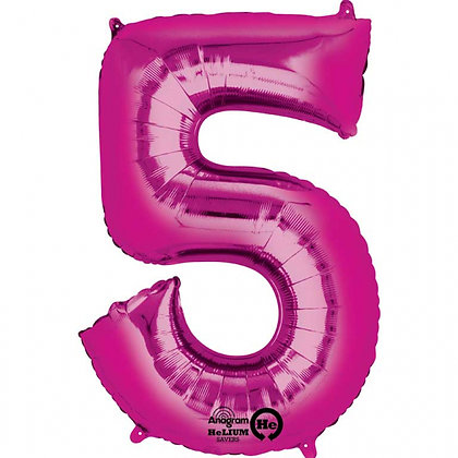 """Pink Number 5 Foil Balloon 34"""" (Deflated)"""