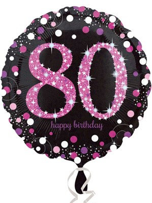 "80th Birthday Black and Pink Celebration 18"" Foil Balloon"