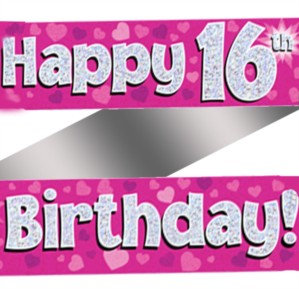 Ages 16 to 80 Birthday Pink Holographic Banner