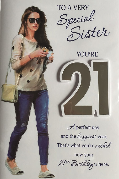Sister's 21st Birthday Card