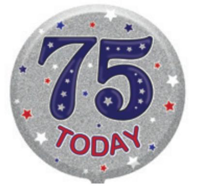 "75th Birthday Male 18"" Foil Balloon"