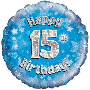 """18"""" Blue Holographic 15th Birthday Foil Balloon (Deflated)"""
