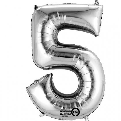 "Silver Number 5 Foil Balloon 34"" (Deflated)"