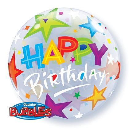 "Happy Birthday Stars Bubble Balloon 22"" (Deflated)"