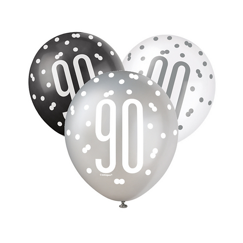 Black, Silver & White Glitz 90th Birthday Latex Balloons 6pk