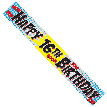 Male 16th Birthday Banner