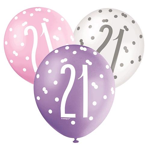 Pink, Purple & White Glitz 21st Birthday Latex Balloons 6pk