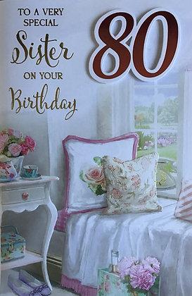 Sister's 80th Birthday Card