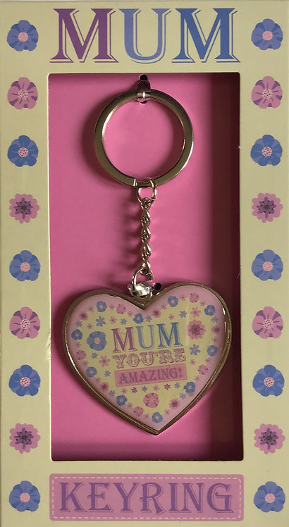 Amazing Mum Heart Shaped Keyring