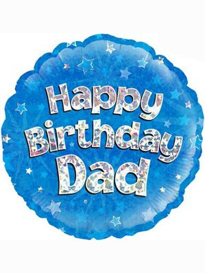 """18"""" Blue Holographic Dad Foil Balloon"""
