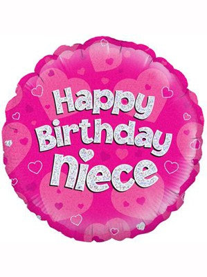"""18"""" Pink Holographic Niece Foil Balloon"""