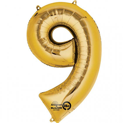 """Gold Number 9 Foil Balloon 34"""" (Deflated)"""