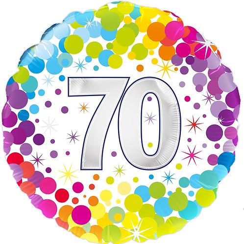 70th Rainbow Dots Foil Balloon