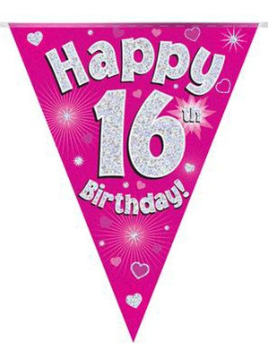Ages 16 to 90 Birthday Pink Holographic Bunting