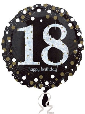 """18th Birthday Black and Gold Celebration 18"""" Foil Balloon (Deflated)"""