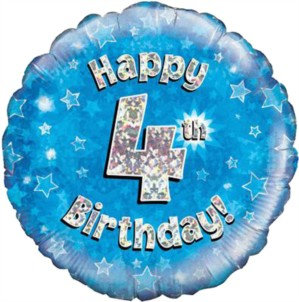 """18"""" Blue Holographic 4th Birthday Foil Balloon"""
