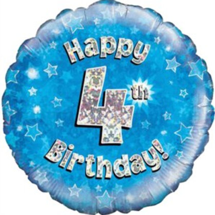"18"" Blue Holographic 4th Birthday Foil Balloon (Deflated)"