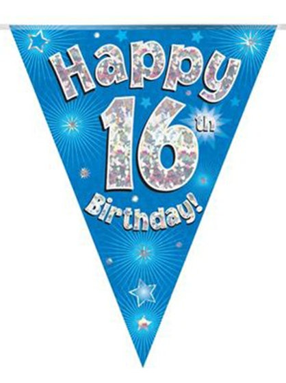 Ages 16 to 90 Birthday Blue Holographic Bunting