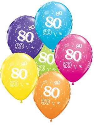 "Age 80 Latex 11"" Balloons 6pk"