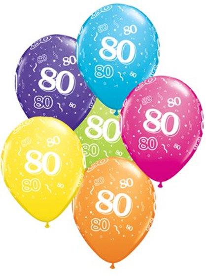 "Age 80 Latex 11"" Balloons 6pk"