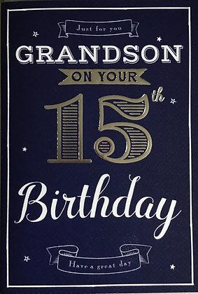 Grandson's 15th Birthday Card