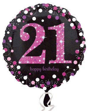"21st Birthday Black and Pink Celebration 18"" Foil Balloon"