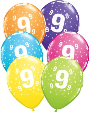 "Age 9 Latex 11"" Balloons 6pk"