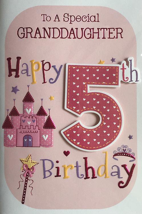 Granddaughter's 5th Birthday Card