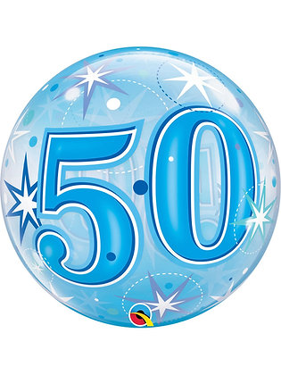 "50th Birthday Sparkle Bubble Balloon 22"" (Deflated)"