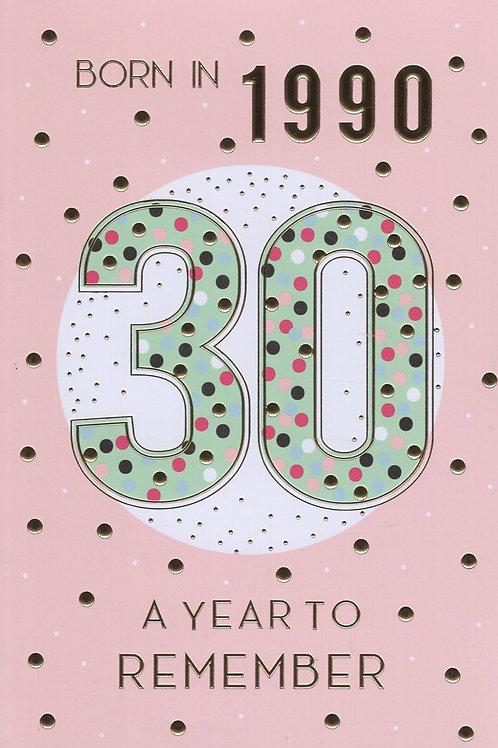 Year You Were Born 30th Birthday Card