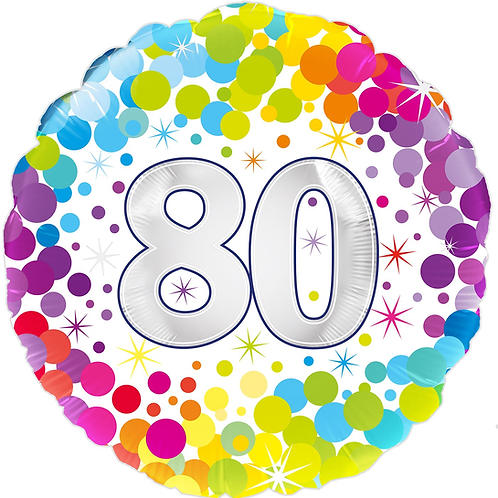 80th Rainbow Dots Foil Balloon