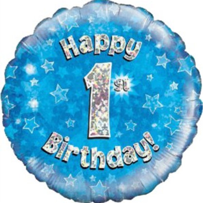 """18"""" Blue Holographic 1st Birthday Foil Balloon (Deflated)"""
