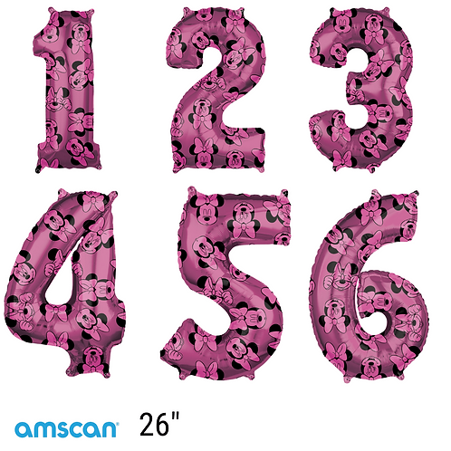 """Minnie Mouse 26"""" Foil Number Balloons 1-6"""