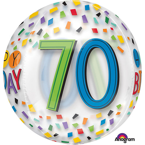 "70th Birthday Rainbow Clear Orbz 16"" Foil Balloon"