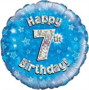 """18"""" Blue Holographic 7th Birthday Foil Balloon"""