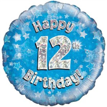 """18"""" Blue Holographic 12th Birthday Foil Balloon (Deflated)"""
