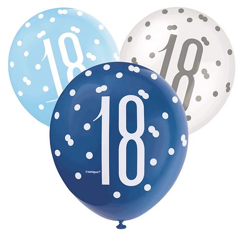Blue & White Glitz 18th Birthday Latex Balloons 6pk