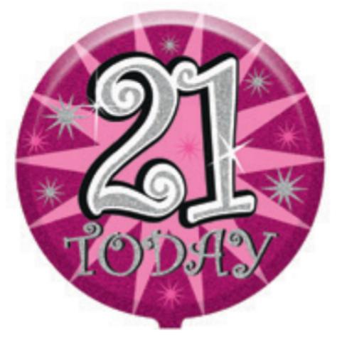 "21st Birthday Female 18"" Foil Balloon (Deflated)"