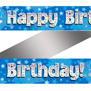 Birthday Blue Holographic Banner