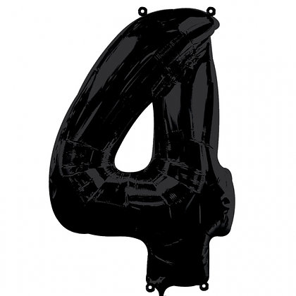 """Black Number 4 Foil Balloon 34"""" (Deflated)"""