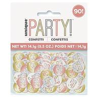 Glitz 90th Birthday Rose Gold Foil Confetti 14g