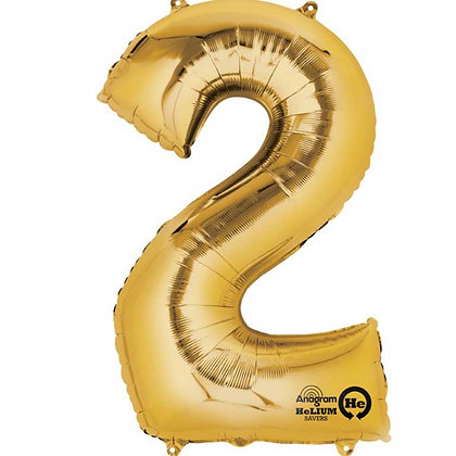 """Gold Number 2 Foil Balloon 34"""" (Deflated)"""