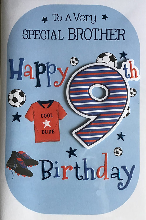 Brother's 9th Birthday Card