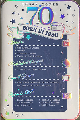 70th Birthday Year Card