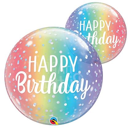 "Happy Birthday Rainbow Ombre Bubble Balloon 22"" (Deflated)"