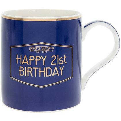 Gents Society Happy 21st Birthday Mug
