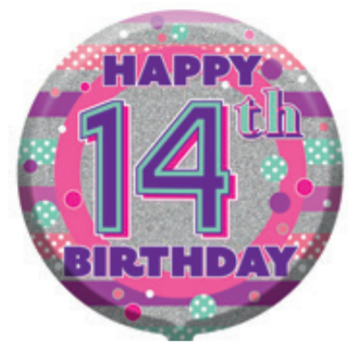 "14th Birthday Female 18"" Foil Balloon (Deflated)"