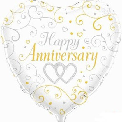 "Happy Anniversary Heart Shaped 18"" Foil Balloon (Deflated)"