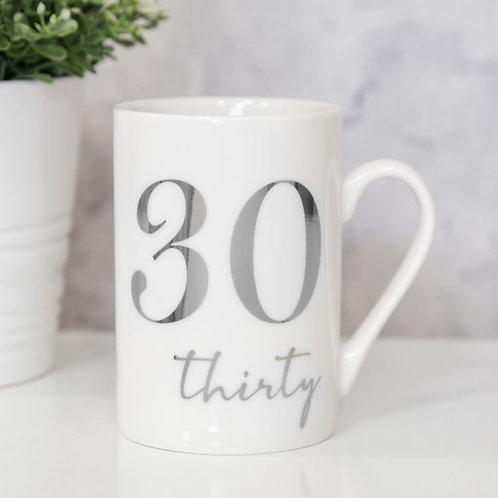 30th Milestones Bone China 11oz Mug with Silver Foil